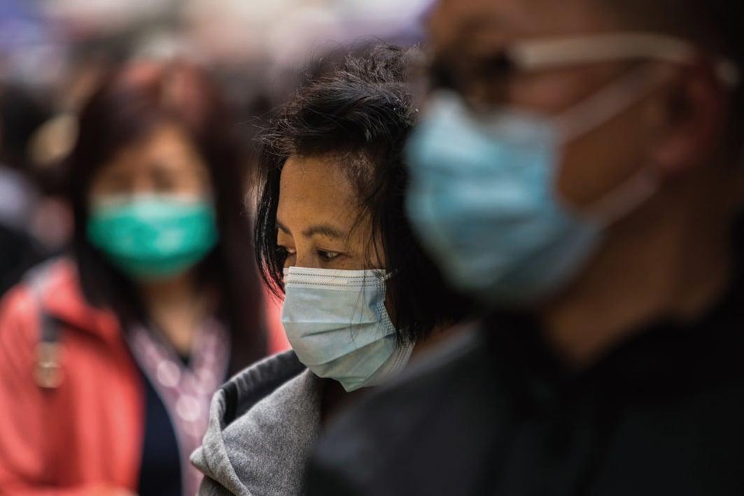 武漢肺炎疫情在南韓擴散。示意圖。(AFP)