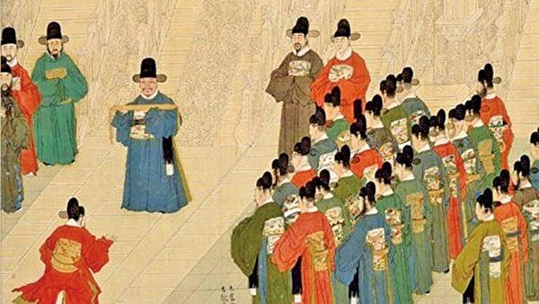 劉伯溫預言,賈銘的子孫世世代代都會出高官。圖為明朝《徐顯卿宦跡圖》金台吹敕局部圖(公有領域)