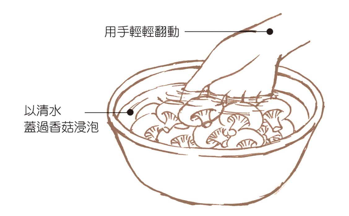 通過浸泡的方式清洗掉菇類上面的農藥。(《正確洗菜,擺脫農藥陰影》/ 大紀元後製)