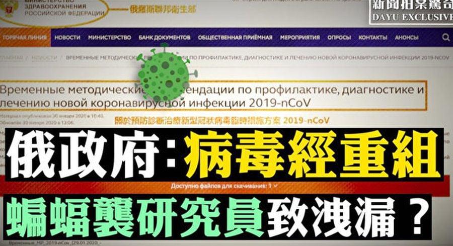 目前俄羅斯的官方文件,也認為這種新病毒不是天然形成,而是SARS冠狀病毒與另外病毒的一種結合體。(新唐人合成)