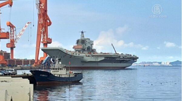 山東艦是中國第一艘國產航空母艦。示意圖。(影片截圖)