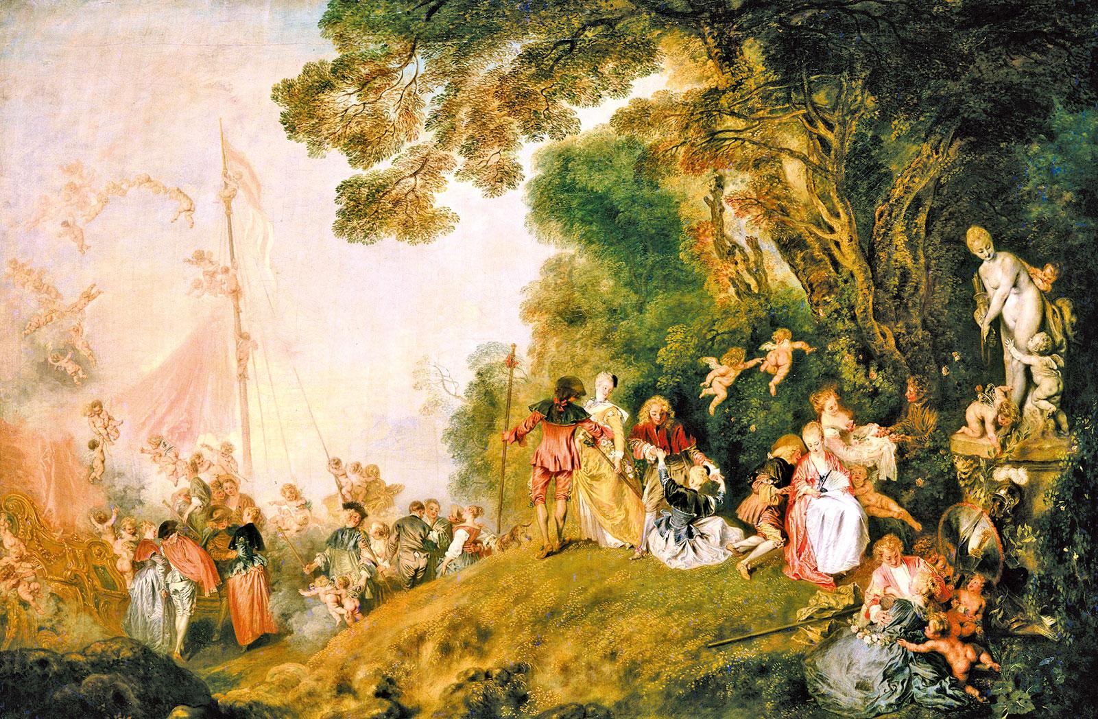 羅浮宮中收藏品,華托Antoine Watteau 1721年繪製的《舟發西地島Pilgrimage to Cythera》,突顯洛可可畫風的瑣細和美感。 (公共領域)