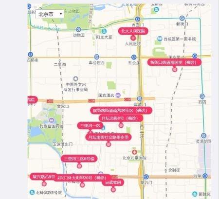 新冠疫情在北京西城區的感染集中區,網友稱之為「新冠走廊」。(網友提供)