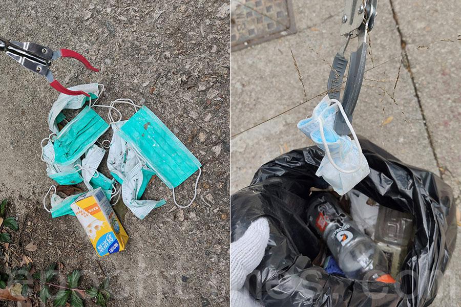 「上山下海執垃圾GoGo Clean Up」於2月2日從龍脊前往小西灣的一個馬路路段時,發現多個棄置CSI口罩(左)。(上山下海執垃圾GoGo Clean Up提供)