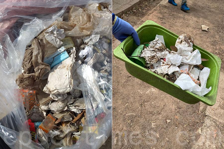 「海洋拾荒者」Kitti在2月25日獅子山清潔山徑行動中拾獲不少垃圾。(海洋拾荒者Kitti提供)