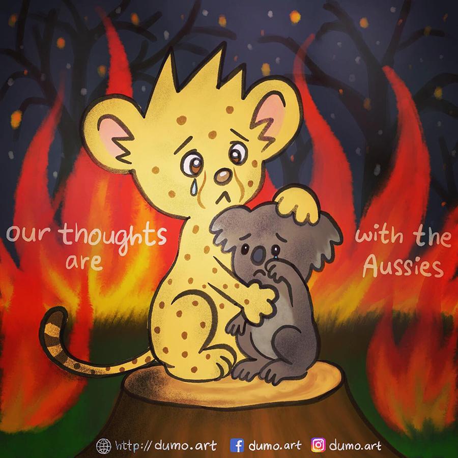 澳洲山火掠奪了上億動物的生命,Lucci在今年1月初畫了一幅Dumo擁抱樹熊的漫畫。(Dumo Facebook)