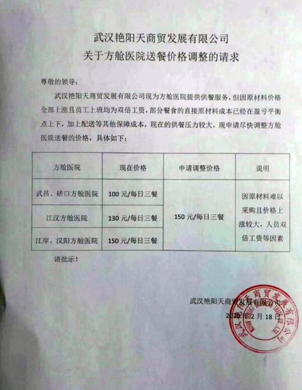 武昌、礄口方艙醫院一日三餐加價五成。(志願者提供/自由亞洲記者喬龍)