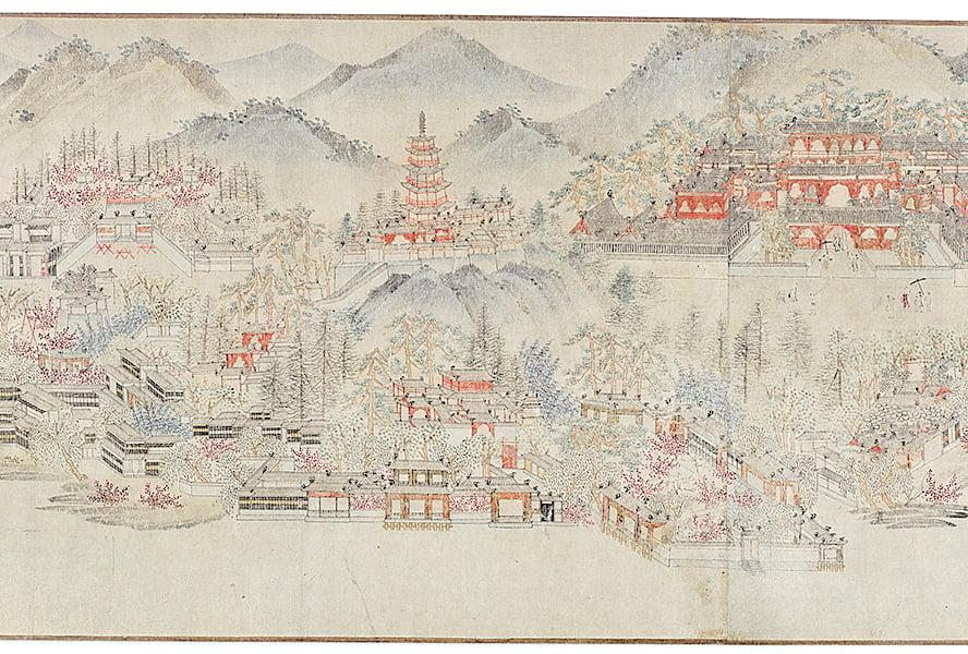 約元末明初時期的雷峰塔,弗利爾畫廊藏佚名《西湖清趣圖》局部。(公有領域)