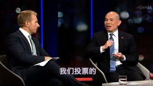 中共駐澳公使上電視節目 宣揚中共拯救世界遭哄笑