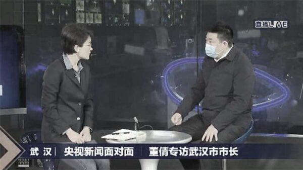 武漢市長周先旺27日接受央視女主持採訪。(影片截圖)