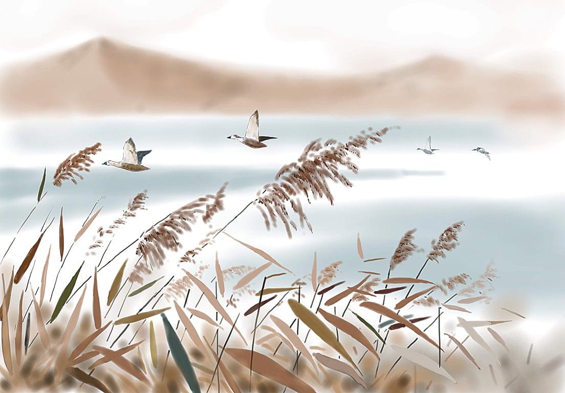 「蘆雁」是中國畫裏花鳥畫的傳統題材(志清/大紀元)