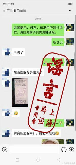 網絡熱傳丹東東港市爆發甲肝。官媒給聊天截圖打上「謠言」標籤。(網絡圖片)