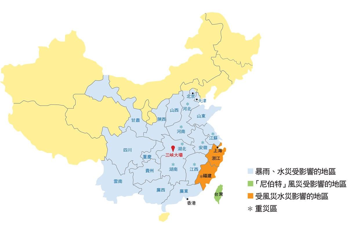 2016年七月份各地區傳出受災情況示意圖,災情遍及大半個中國地區。(大紀元製圖)