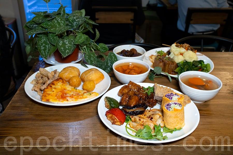 「走肉・朋友」轉型為「自選餐」後,客人可選擇任選5種菜式,米飯、飲品和湯水任添加。(陳仲明/大紀元)