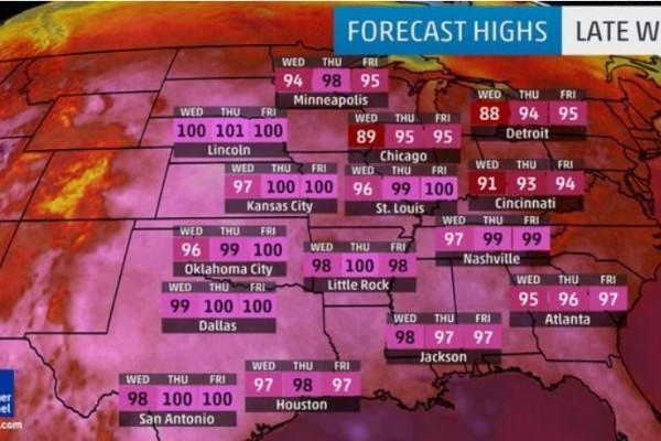 熱浪襲全美 部分地區氣溫將高達43度