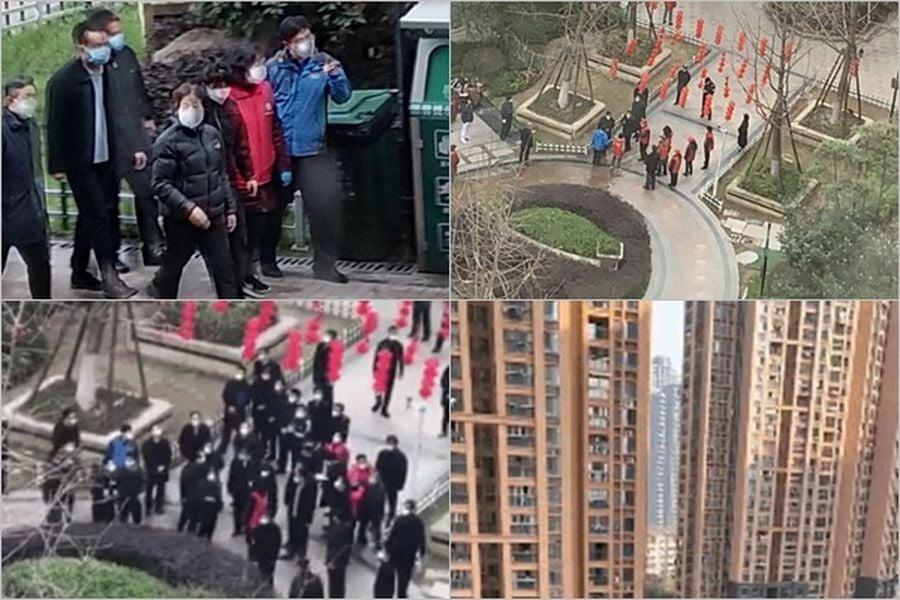 2020年3月5日,中共副總理孫春蘭視察武漢市青山區中建開元公館時,業主們憤怒高喊:「全部都是假的。」(知情人提供)