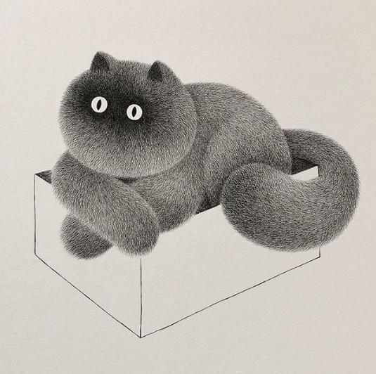 方錦威的「貓毛球」插畫。(方錦威Ig)