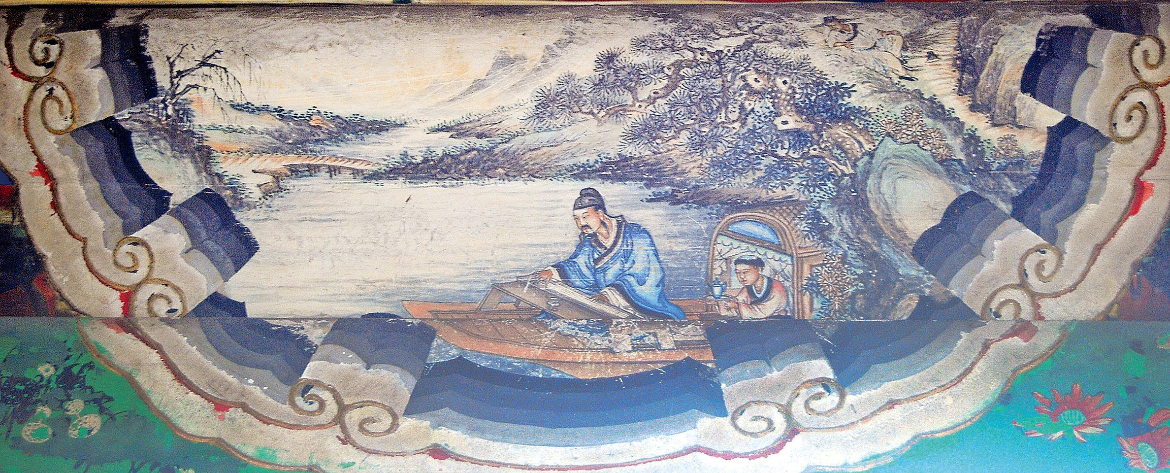 頤和園長廊上的彩繪:子期聽琴,圖中人為伯牙。(公有領域)