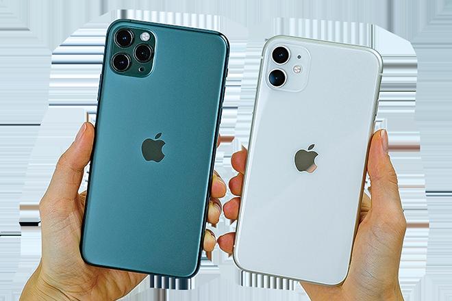2019年發表的iPhone 11 Max Pro(左)和iPhone 11。(Shutterstock)
