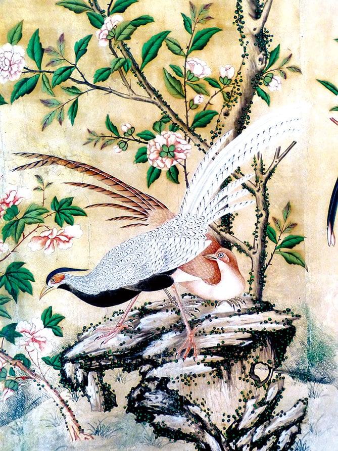 奧地利薩爾茨堡海爾布倫宮( Hellbrunn  palace)的中國房間中,1750年製作的帶鳥的中國畫牆紙。(Wolfgang Sauber/Wikimedia Commons)