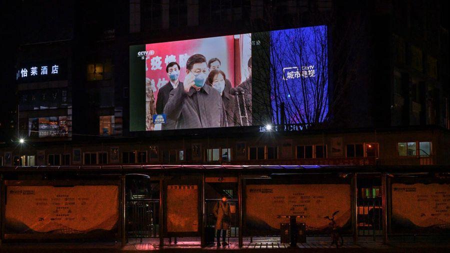 2020年3月10日,習近平到訪武漢市場(中共病毒)疫情。(Kevin Frayer/Getty Images)
