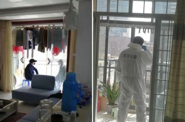 左圖:一民居的陽台上,兩名便衣戒備。右圖:一名穿防護服的公安在居民家戒備。(圖片來源:自由亞洲電台)