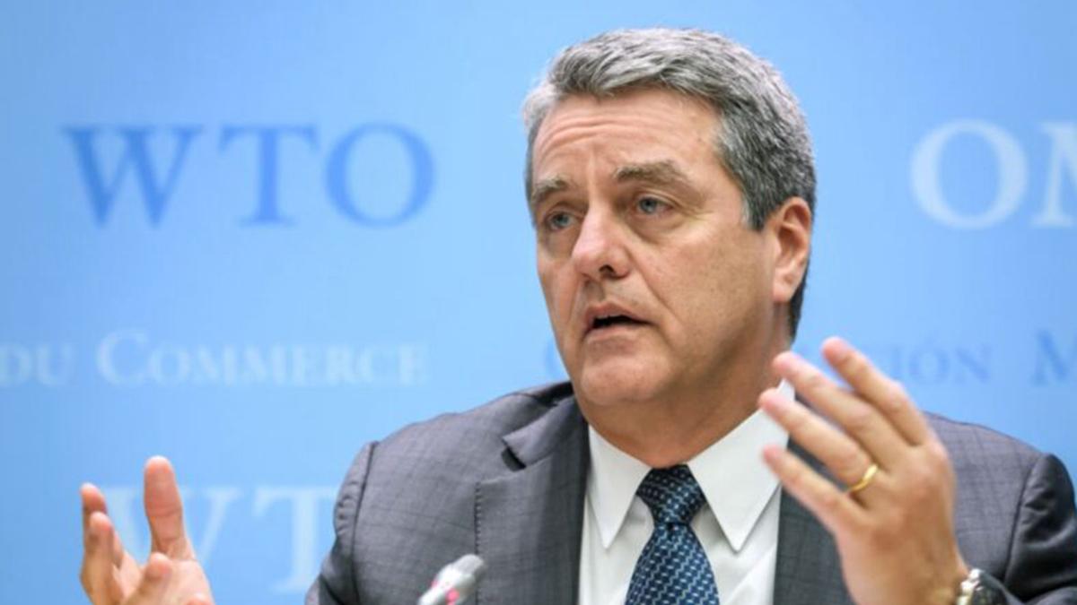 世界貿易組織(WTO)總幹事羅伯托‧阿澤維多(Roberto Azevedo)於2019年12月10日在日內瓦總部舉行世貿組織總理事會會議後,在新聞發佈會上講話。(FABRICE COFFRINI/AFP via Getty Images)