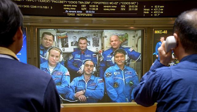 正駐守國際空間站的日本太空人大西卓哉(Takuya Onishi)19日晚與日本宇宙航空研究開發機構(JAXA)東京事務所連線召開記者會,介紹太空生活。(Bill Ingalls/NASA via Getty Images)