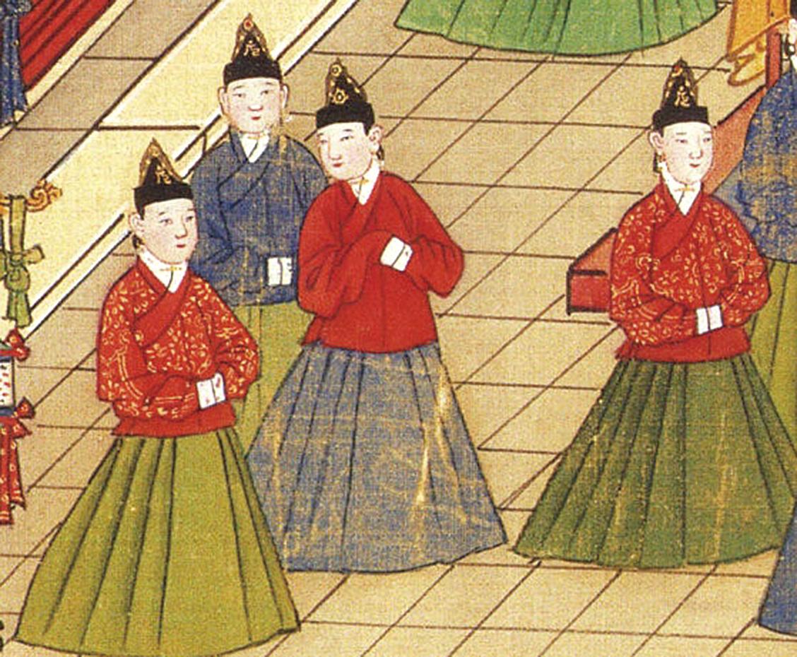 《漢書‧杜欽傳》記載,皇帝找嬪妃,「必鄉舉求窈窕,不問華色,所以助德理內也。」圖為《明憲宗元宵行樂圖》中的妃嬪(公有領域)