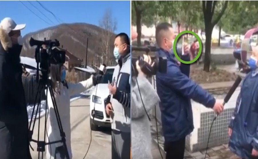 3月11日網絡流傳兩段電視台採訪影片,被指中共當局作秀。(影片合成)