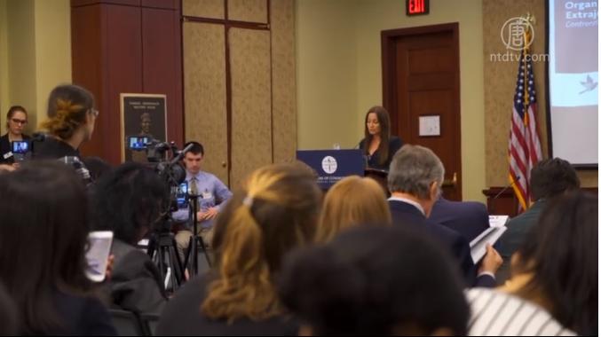 周二(2020年3月10日),在美國國會舉辦的政策論壇上,來自中國遼寧的法輪功學員于溟,披露了一段暗訪影片,揭示中共活摘器官的事實。(視頻截圖)