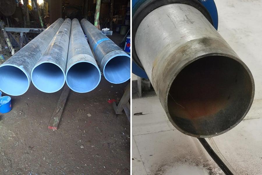 使用MAP-1塗層的水管對比圖,左圖已使用,右圖未使用。(香港科技大學提供)