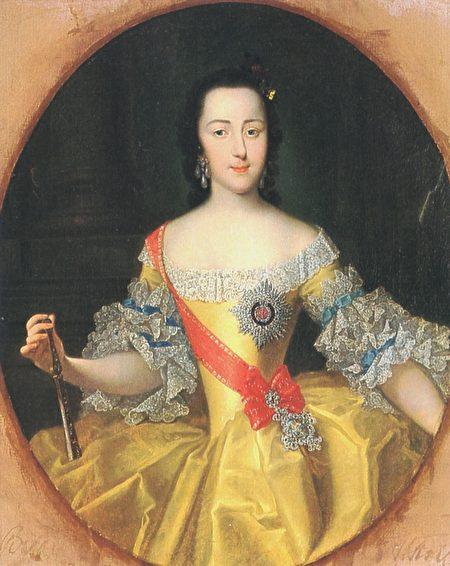 1745年的葉卡捷琳娜公爵夫人,由喬治・克里斯托弗・高斯( Georg Cristoph Grooth)所繪。(Mrlopez2681/Wikimedia commons)