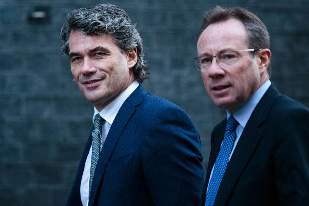 2020年3月12日,英國最大電信集團「英國電信」行政總裁詹森(右)被驗出中共肺炎(武漢肺炎、新冠肺炎)呈陽性反應。(Jack Taylor / Getty Images)