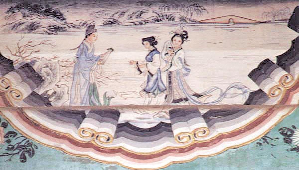 中國北京頤和園中的長廊畫,表現的是《白蛇傳》中遊湖借傘的故事。(公有領域)