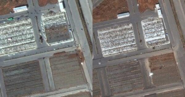 原本還有一半的墓地尚未使用(左),如今已全被填滿(右)。(圖/翻攝自Maxar Technologies)