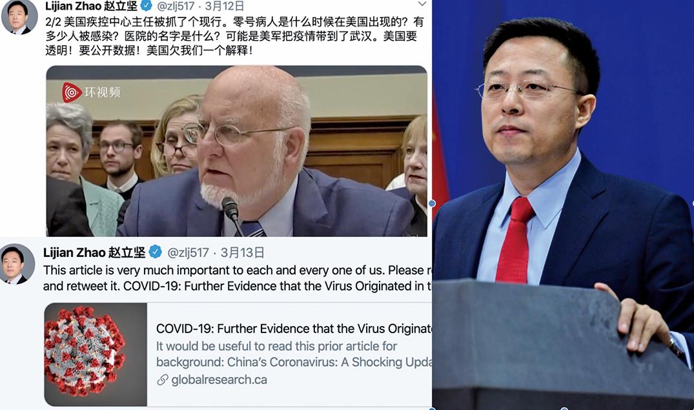 中共外交部發言人趙立堅12日連續發5條中英文推文,質疑「美軍把疫情帶到武漢」,引起國際社會譁然。(推特截圖)