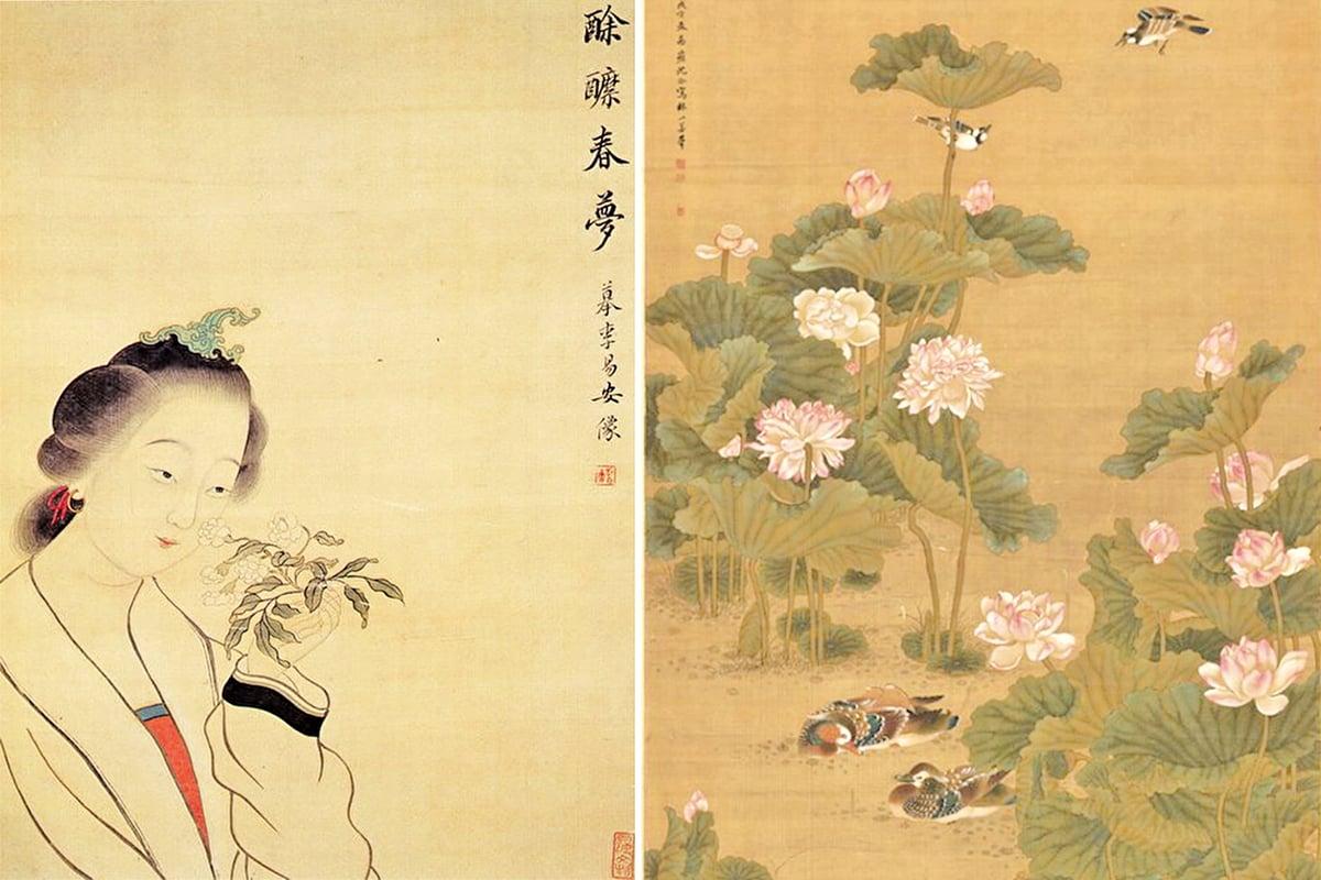 李清照像(左)和清沈銓繪《荷塘鴛鴦圖》局部(右)(公有領域/大紀元合成)