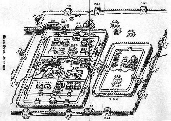 呂后將韓信騙至長樂宮後處死。圖為清朝畢沅所繪的漢長樂未央宮圖。 (公有領域)