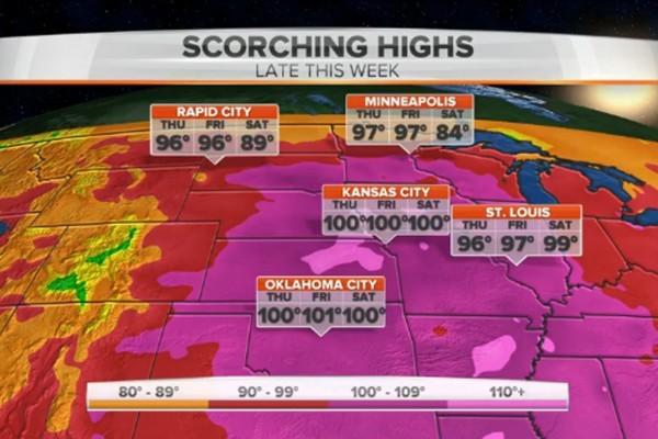 美國大部份地區本周遭遇高溫酷暑天氣,最高溫度可高達攝氏46度。(視像截圖)