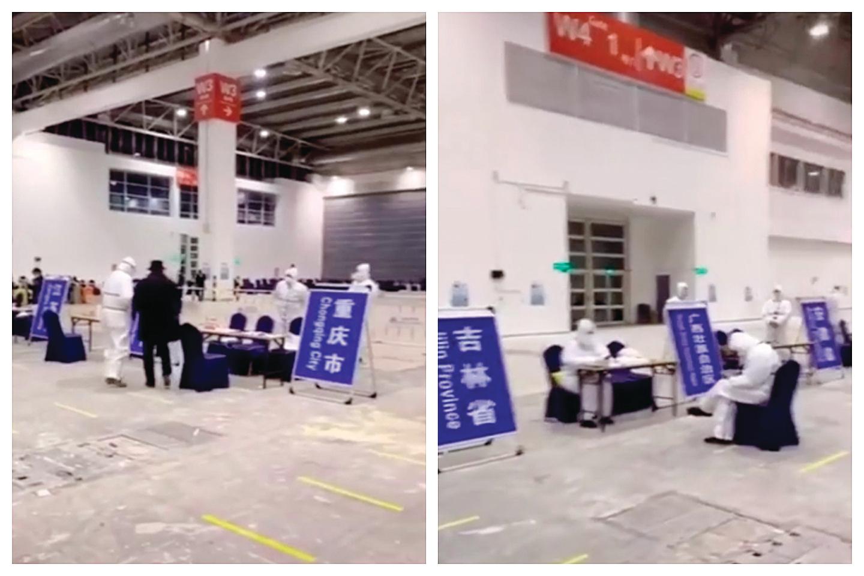 近日中國媒體宣傳「回國避疫」,但接待大廳裏人員稀少,各省分流工作人員很閒。(影片截圖)