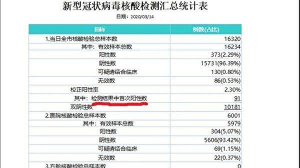 圖為武漢市衛健委收到的3月14日全市「中共病毒核酸檢測匯總統計表」。(網絡截圖)