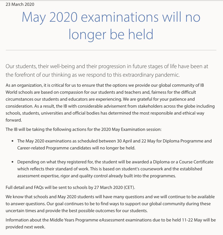 國籍文憑組織網頁通知取消5月部份考試。(IBO官方網頁截圖)