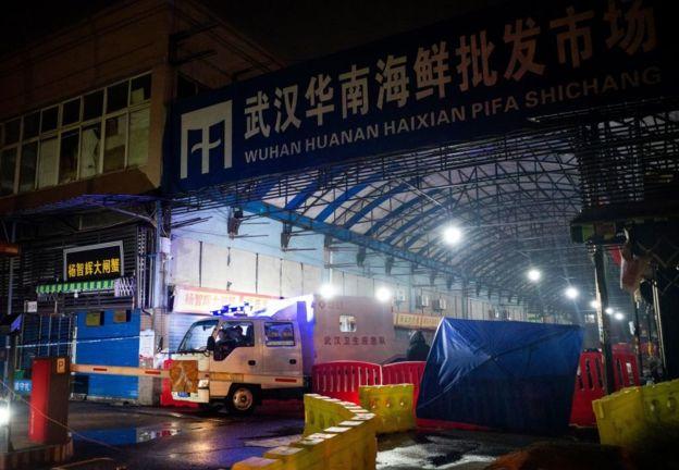 發生疫情的武漢華南海鮮批發市場已暫停營業。(Getty Images)
