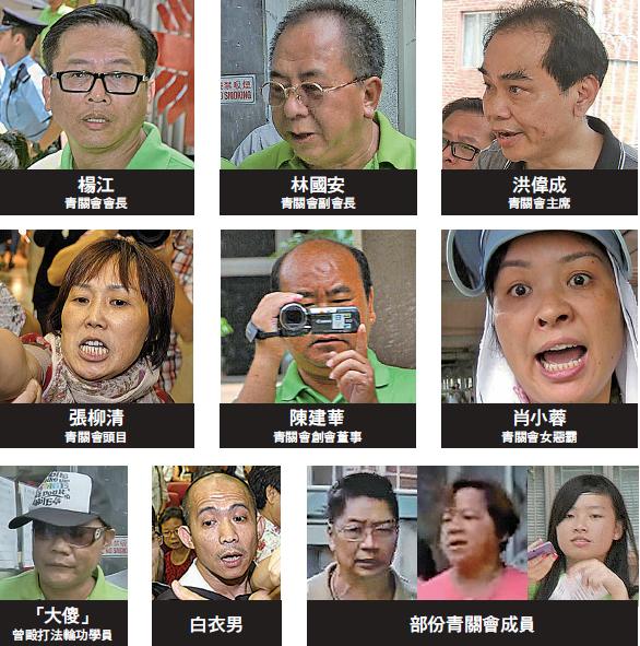 2012年8月18日,新唐人第五屆「全世界中國舞舞蹈大賽」亞太賽區初賽,首次在香港明愛九龍服務中心舉行。當天一早,青關會成員已經在場外掛滿誣衊橫幅,並動員過百人在場外不停叫囂,干擾進場欣賞比賽的市民,又多次試圖強闖會場。當年包括青關會的幾個頭目洪偉成、楊江、林國安、陳建華及女惡霸肖小容、張柳清等人皆在場帶頭搗亂。(大紀元製圖)