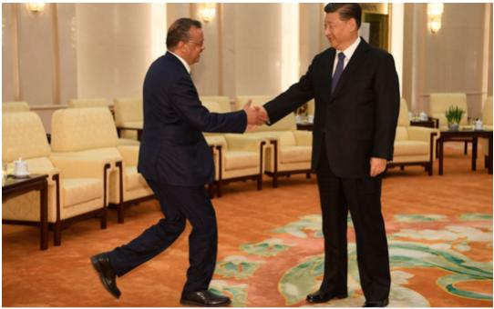 中共肺炎疫情爆發後,世衛秘書長譚德塞媚中親共的言行,令他在國際社會聲名狼籍。圖為譚德塞(左)在北京與習近平(右)會面。(Naohiko Hatta - Pool/Getty Images)