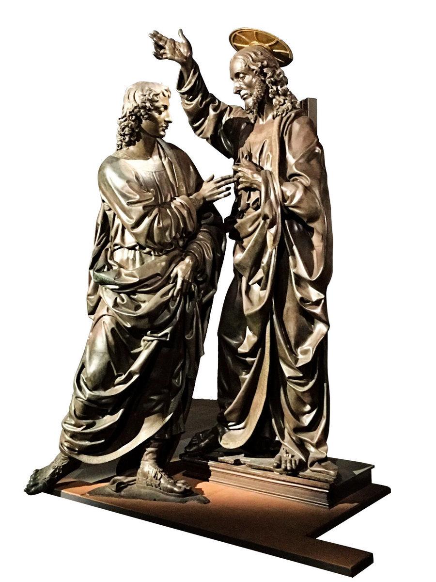 安德烈·德爾·委羅基奧的雕塑作品《基督與聖多馬》(Christ and St. Thomas),1467~1483。青銅,意大利佛羅倫斯「聖彌額爾教堂博物館」。(David Vives/大紀元)