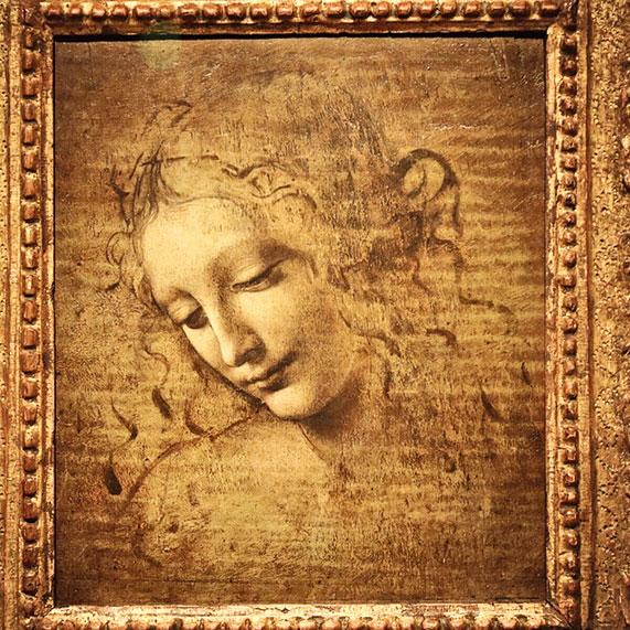 李安納度·達·文西的作品《女子頭像》(La Scapiliata),1500~1510年。油彩,畫布,25 x 21 公分,意大利「帕爾馬國家美術館」。(David Vives/大紀元)