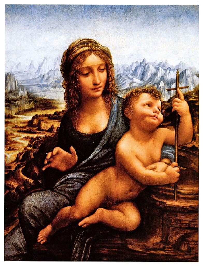李安納度•達•文西和他的學徒共同完成的作品,《聖母像》(Madonna of the Yarnwinder),1500~1510年。油彩,畫板(描摹至畫布), 50.2x34.6公分,私人收藏,美國。(David Vives/大紀元)