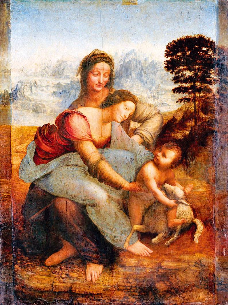 李安納度·達·文西的作品《聖母子與聖安妮》(Virgin and Child With Saint Anne),1503年。油彩,畫布, 168 x 112 公分,法國巴黎羅浮宮。(Public Domain)